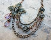 Copper  Pink Blush  Asymmetrical Boho Layer  Necklace