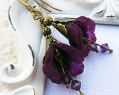 Magenta and Antique Brass Flower Earrings