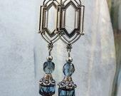 Silver Art Deco Dangle Earrings - Czech Glass, Sapphire Blue, Antique Silver, Drop