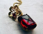 Ruby Red Jewel and Gold Bell Flower Necklace