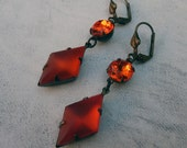 Glowing Embers Vintage Jewel Earrings - Orange, Antique Brass, Geometric