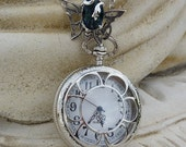 Last one - Skeleton Butterfly Antique Silver and Blue Jewel Pocket Watch Locket Necklace