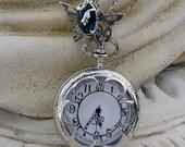 Skeleton Butterfly Purple Tanzanite Antique Pocket Watch Locket Necklace