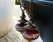 Oriental Red Lampwork Drop Earrings - Red, Hanmade, Antique Brass, Antique Gold