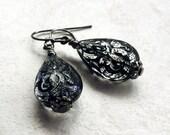 Black Teardrop Earrings, Lace Pattern, Lightweight, Wedding, Gift for Her