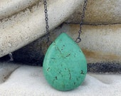 Magnesite Turquoise Blue Green Bold Drop Necklace - Black