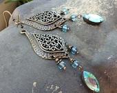 Antique Brass Chandelier Earrings - Bohemian, Dangle, Blue, Aqua, Vintage Jewel, Czech Glass