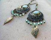 Pacific Opal Czech and Swarovski Crystal Long Bohemian Earrings