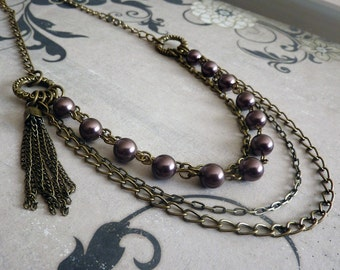 Layer Necklace - Chain, Czech Glass Pearl, Purple, Plum, Antique Brass, Bohemian, Women's, Gift for Her, Long, Tassel,