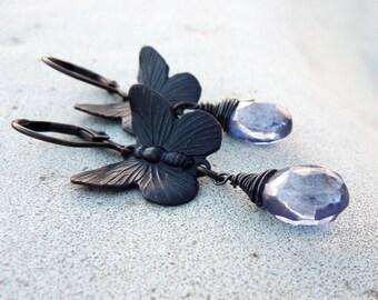 Butterfly Dangle Earrings, Dark Antiqued Brass, Indigo Blue Mystic Quartz Gemstone, Woodland Earrings, Gift for Her