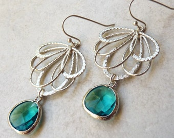 Silver Chandelier Earrings, Teal Jewel, Bohemian, Wedding Jewelry