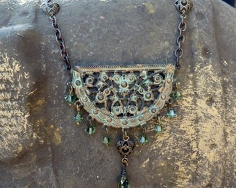 Verdigris Brass and Crystal Bohemian Chandelier Necklace - Teal Green, Ornate, Filigree, Crescent, Boho Chic, Patina, Gift for Her, Crystal