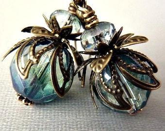 Bohemian Czech Glass Drop Earrings - Antique Brass, Teal, Blue Green