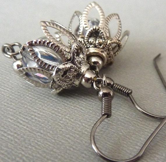 Silver Filigree Drop Earrings - Dangle, Wedding, Bohemian, Czech Glass