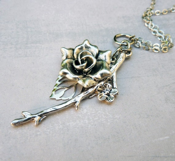Silver Charm Necklace - Woodland, Rose, Twig, Nature