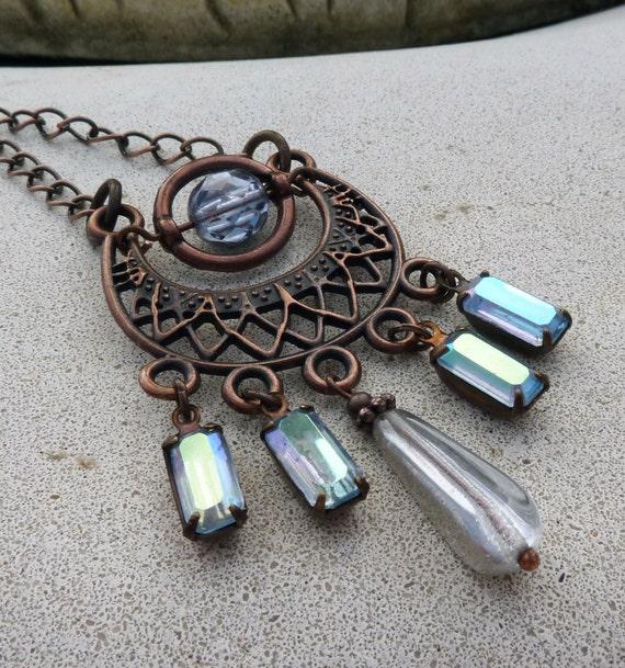 Bohemian Chandelier Necklace - Lavender Purple, Vintage Jewel, Antique Copper, Czech Glass