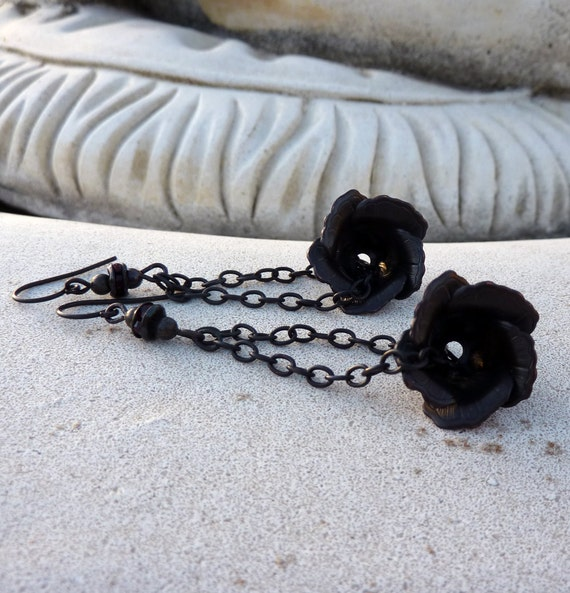 Valentine Sale - 13% off all items Gothic Rose Dark Double Chain Long Dangle Earrings
