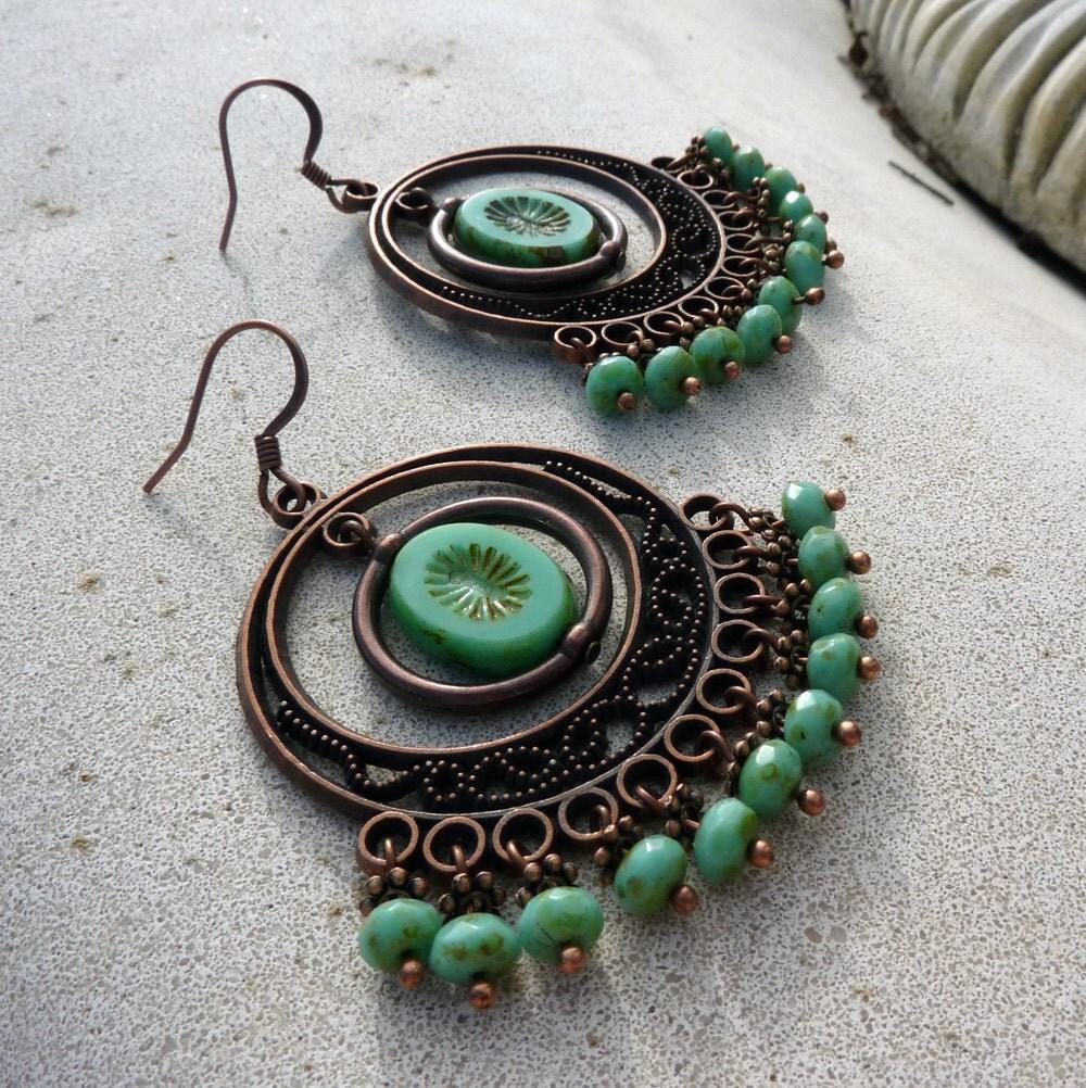Large Turquoise Bohemian Czech Glass Chandelier Earrings