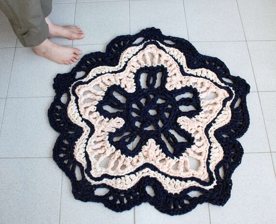 crocheted rug in dark blue color and banana