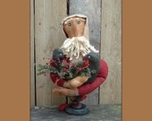 Santa Delivering Crows primitive folk art make do instant download sewing pattern HAFAIR OFG