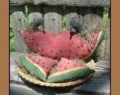 Primitive Watermelon Slice w crows PDF instant download Folk Art HAFAIR