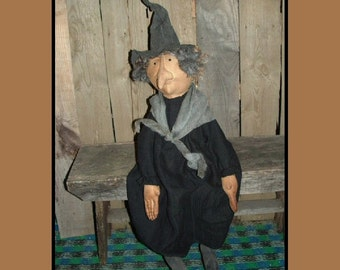 Primitive folk art witch instant download pattern HAGUILD HAFAIR OFG