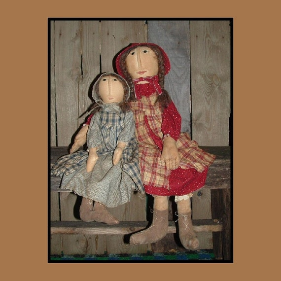 Prairie Doll Sisters primitive instant dowload pattern HAFAIR HAGUILD