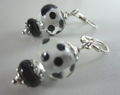 Lovely Black and White Polka Dot Lampwork Earrings