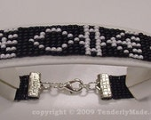 Grafted In Messianic Symbol Beaded Bracelet - Black and White
