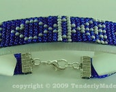 Grafted In Messianic Symbol Beaded Bracelet - Sapphire Blue and White