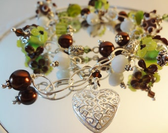 A Walk in the Forest - Filigree Heart Sterling Silver Charm Bracelet