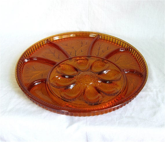 Round Orange Glass Relish Tray With Egg Plate