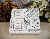 Music is the Beauty Absorbent  Stone Tile Coasters Set of FOUR