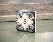 Personalized Monogram Blackened Vintage Design 2 inch Stone Tile Magnet