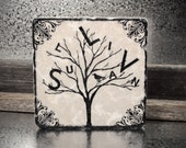 Person-al-i-Tree Personalized Family Name Tree Absorbent Stone Tile Drink Coaster