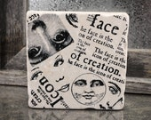 Face Collage Man in the Moon Absorbent Stone Tile Drink Coaster