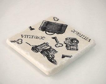 Vintage Camera and Travel Absorbent Stone Tile Drink Coaster