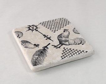 Vintage Farm Rooster Absorbent Stone Tile Drink Coaster
