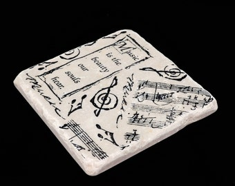 Music is the Beauty Absorbent  Stone Tile Coaster