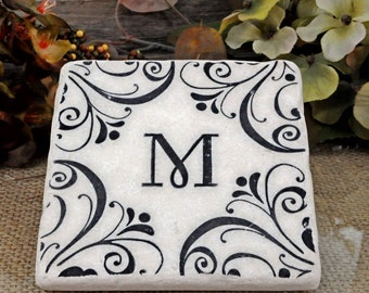 Make it Personal  Monogrammed Absorbent Stone Coasters-Set of 4