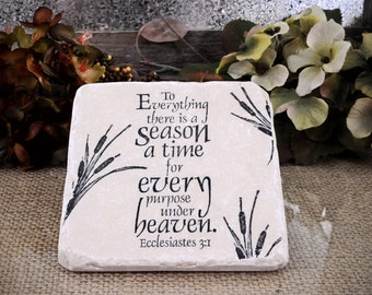 Cattail Scripture Absorbent Stone Tile Drink Coaster