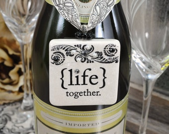 Wedding Table Decor Stone Tile Toast Champagne Bottle Charm