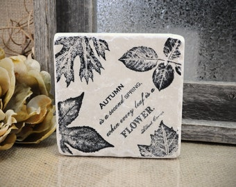 Autumn Harvest Leaves Absorbent Stone Tile Drink Coaster
