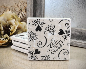Life is GOOD Absorbent Stone Tile Drink Coasters- Set of 4