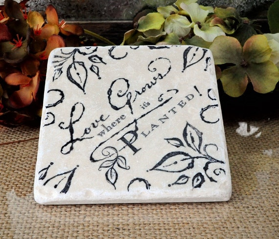 Love Grows  Absorbent Stone Tile Drink Coaster