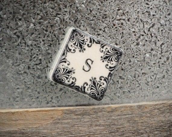 Elegant Monogram Blackened Vintage Design 2 inch Stone Tile Magnet