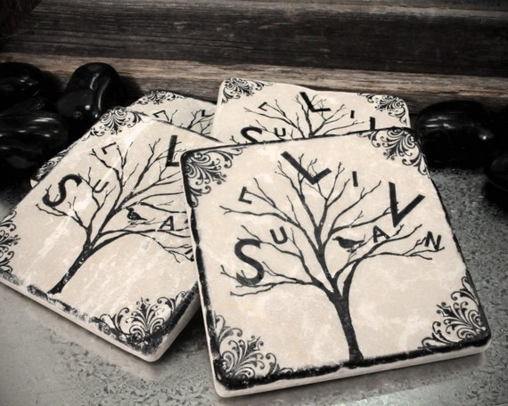 Person-al-i-Tree Personalized Family Name Tree Absorbent Stone Tile Drink Coasters- Set of 4