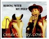 Peeps on a Trail Ride, note card, blank, chick, horse