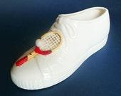 Vintage Ceramic Planter, Tennis Shoe, Napco Japan,Tennis Racket, Ball, Wimbledon, US Open, French Open, Sports Fan Gift, White, Red, Kitsch