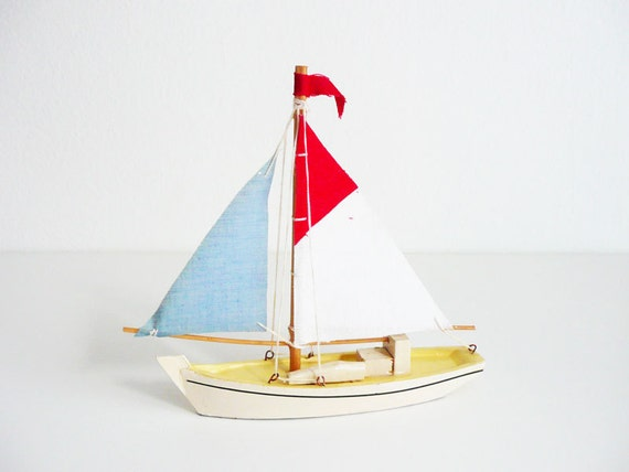 RESERVED Little Vintage Sailboat, Red White and Blue, Wooden Toy Boat, Nautical Home Decor, Beach house Decor